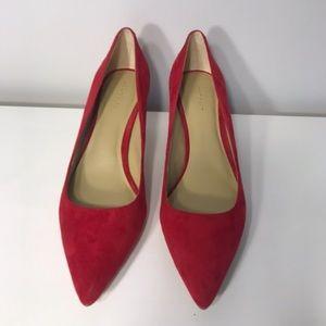 Ann Taylor Suede Kitten Pump- Red